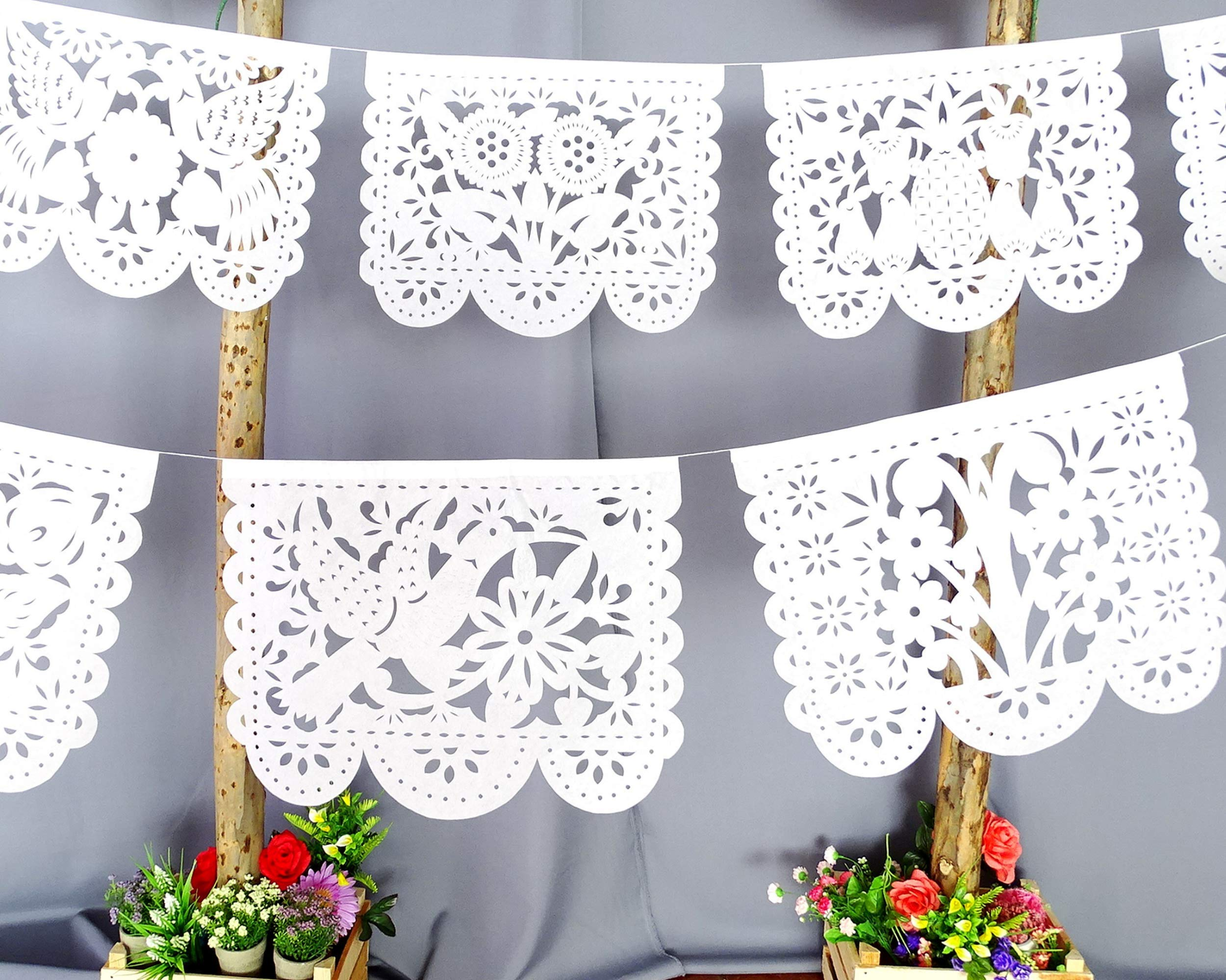 Mexican Party Decorations, 5 Pk White Papel Picado Over 83 Feet Long, for Weddings, quinceañeras, Birthdays, Fiesta Party Supplies, Boda decoración, Banner Paper 50 Flags WS93