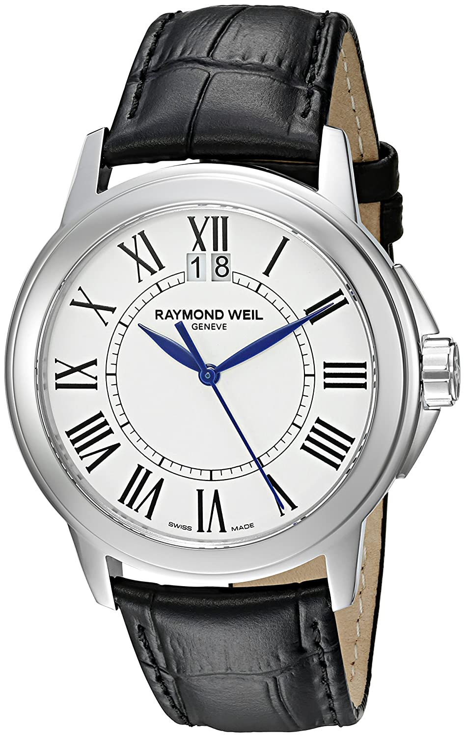 Raymond Weil Men s 5576-ST-00300 Tradition Stainless Steel Case Black Leather Strap with Crocodile Pattern Watch