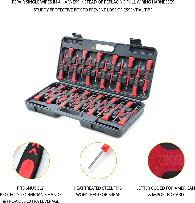 AFA Tooling Terminal Release Tool Kit 25 Pcs Stainless Steel Tips Won/'t Bend