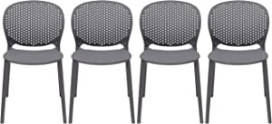 2xhome Set of 4 - Dining Room Chairs - Plastic Chair with Backs Designer Chair Modern Chair Indoor Outdoor Light Weight Armless Chair - Matte Finish (Dark Grey)