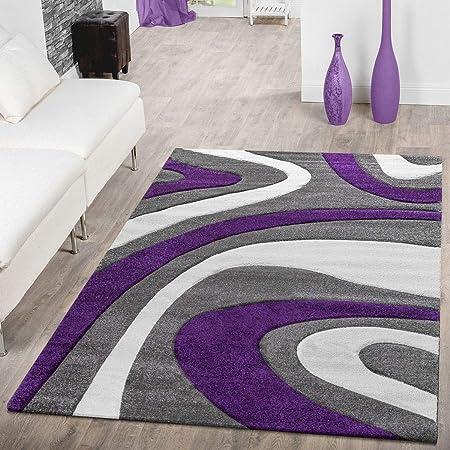 T & T moderna alfombra pelo corto   Salón Dormitorio Comedor   suave de diseño, diseño de ondas, en varios. Colores y Tamaños, morado, 200 x 290 cm
