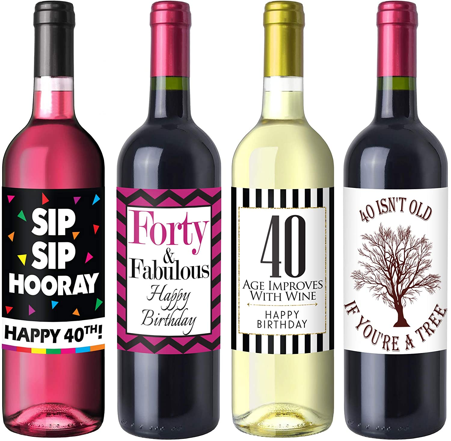 Chic 40th Birthday Wine Label Pack Birthday Party Supplies Ideas And Decorations Funny Birthday Gifts For Women