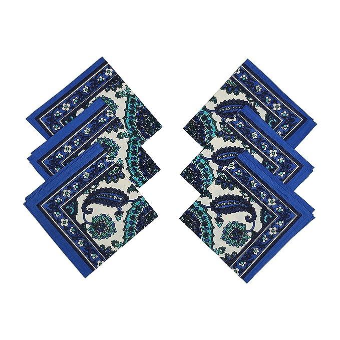 ShalinIndia Manteles para mesas de 6 sillas - Mesa Décoration Mantel Rectangular 58 x 88 cm - algodón Floral Print-Set de Seis servilletas - Colorful: ...