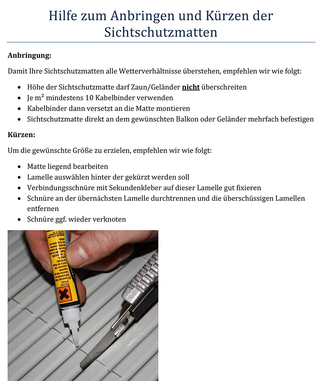 Amazon WOLTU GZZ1184gr1 Sichtschutzmatte PVC Sichtschutzzaun