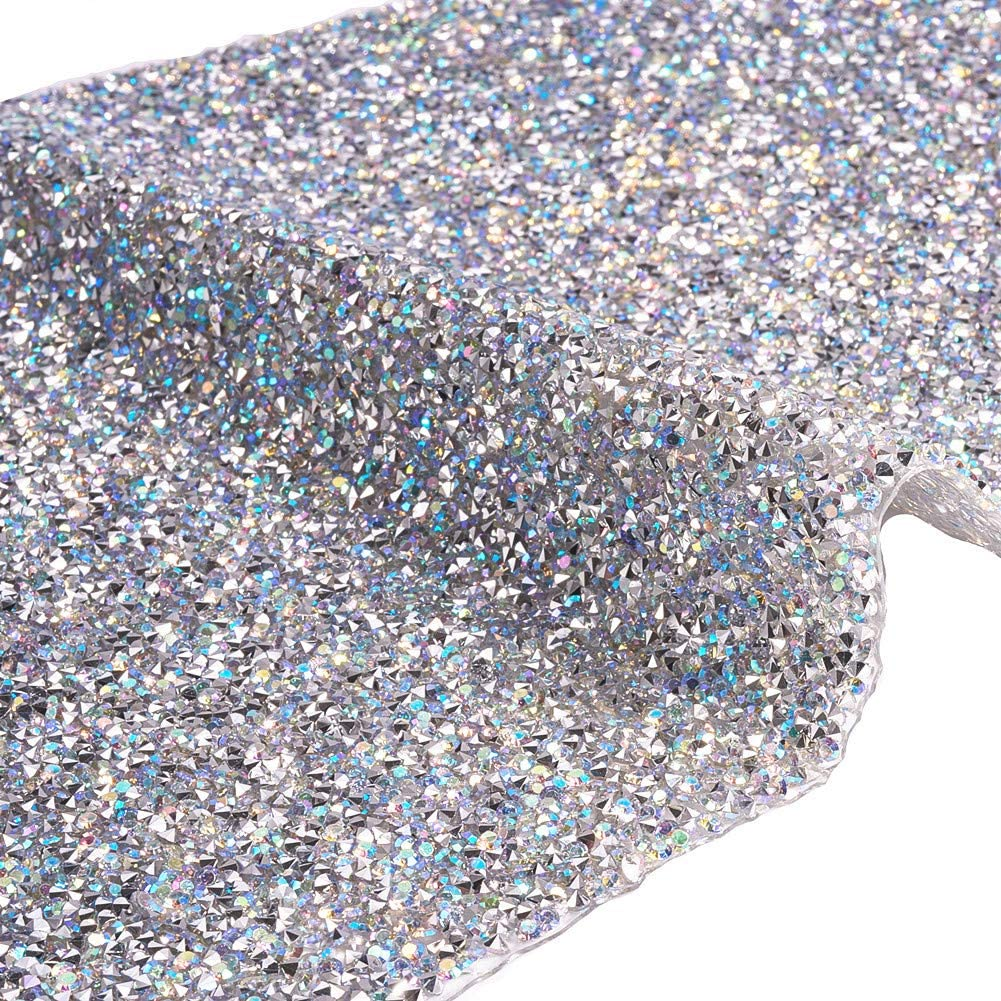 BENECREAT Crystal Epoxy Rhinestone Sheet 40x24cm Hot Melting Glass Rhinestone Diamond Mesh Net With 3mm Rhinestones for Trimming Cloth Bags Shoes Decoration 15.74x9.4inch