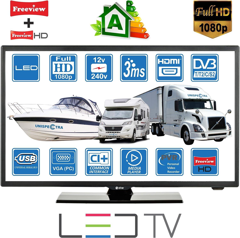 C/âble VGA /& HDMI Moniteur PC Camping Car Caravane Bateau 12 Volt 22 Pouces 56cm LED Full HD T/él/éviseur Num/érique DVB-T2//C//S2 TNT HD Satellite TV 12V 220V USB PVR /& Lecteur Multimedia