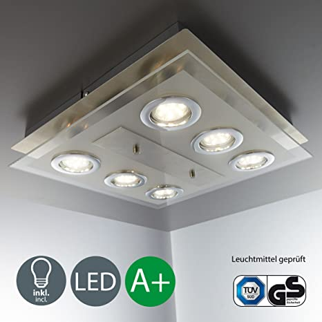 Lámpara de techo LED I 6 focos I Marco cuadrado I Incluye 6 luces GU10 de