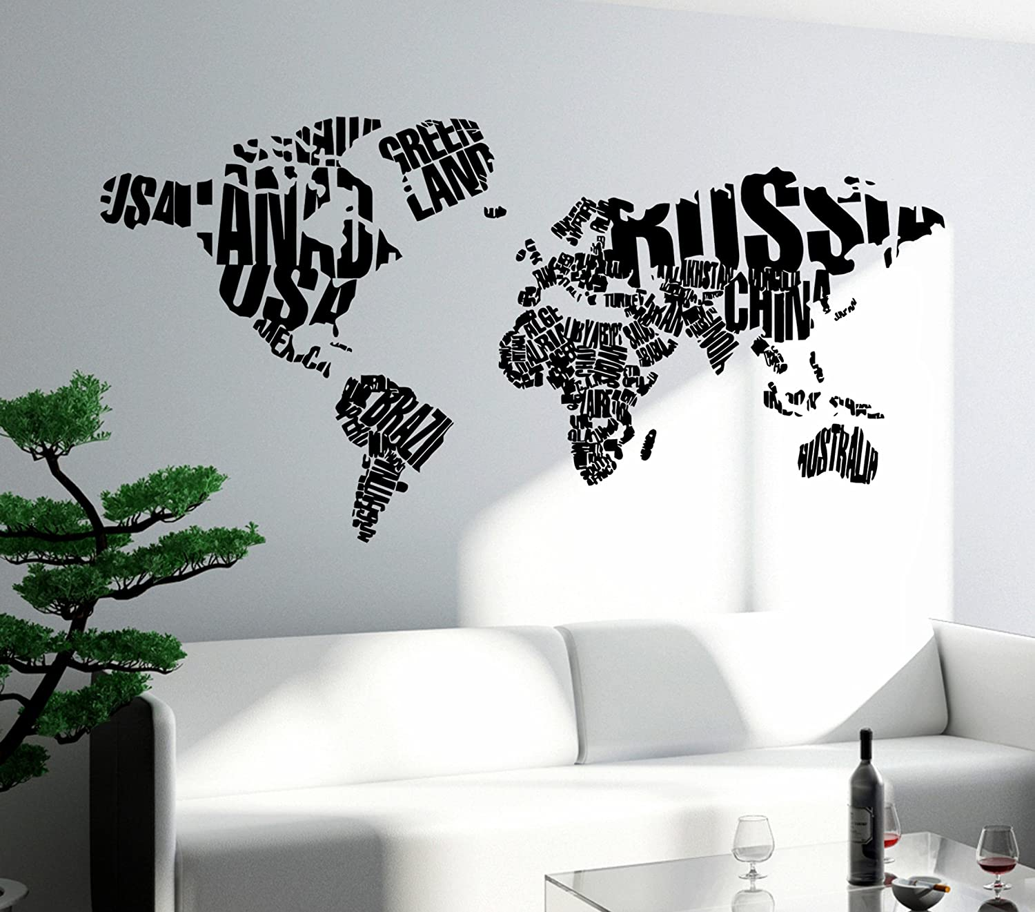Amazon wall stickers vinyl decal world map with country names amazon wall stickers vinyl decal world map with country names usa russia china brazil z1310i 17 in by 35 in home kitchen gumiabroncs Images