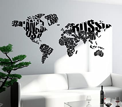 Amazon Com Wall Stickers Vinyl Decal World Map With Country Names