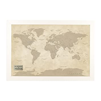Amazon.com: Personalized Vintage World Push Pin Travel Map with ...