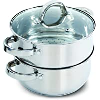 Oster Hali olla de cocción al vapor con tapa para estufa, acero inoxidable
