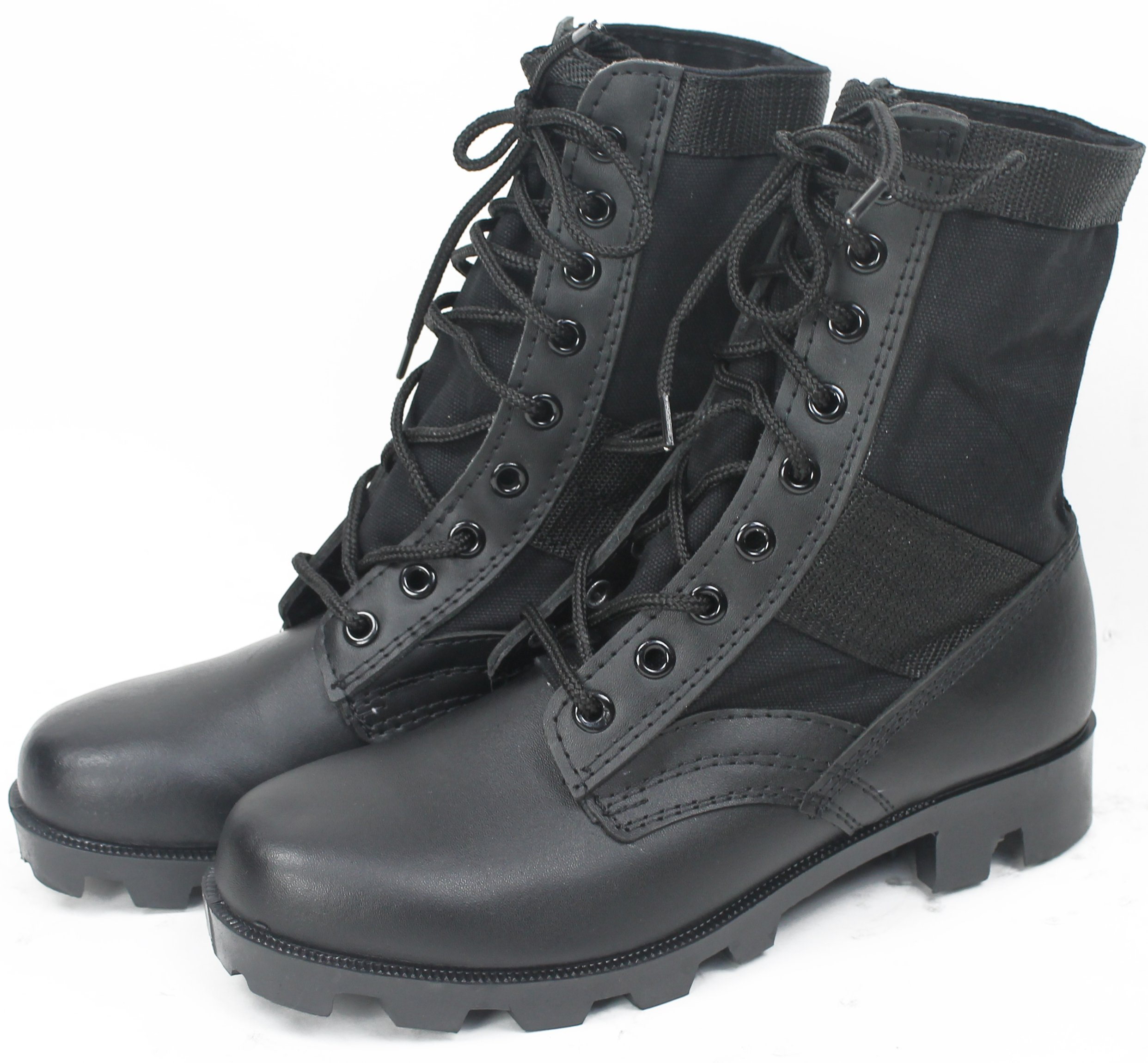 Black Panama Sole Military Leather Jungle Boots, Size 8 Wide