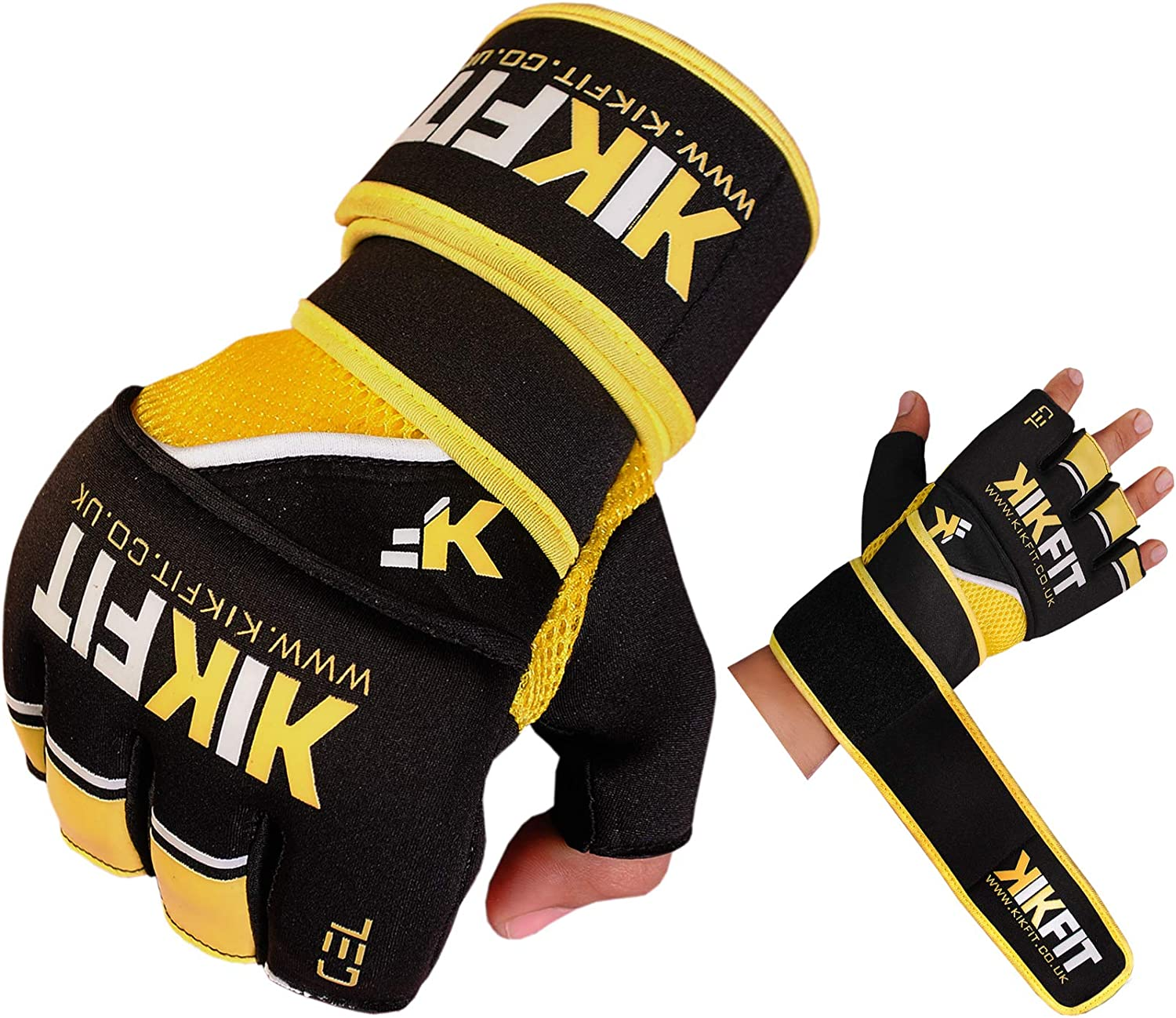 KIKFIT MMA Grappling Gloves Sparring Training Gel Padded Mitts UFC Punching Bag Cage Fighting Boxing Mixed Martial Arts Muay Thai Strike Kickboxing Gloves