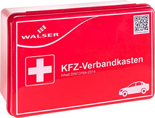 Colore Rosso a Norma DIN 13164 Walser 44263 Cassetta di Pronto Soccorso per Auto