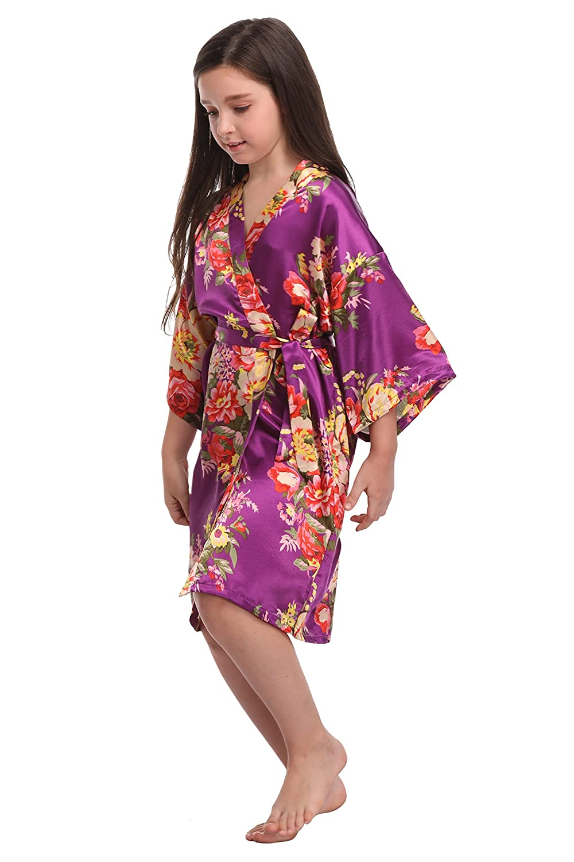 KimonoDeals Flower Girls Satin Floral Kimono Robe Junior Bridesmaid Robe for Wedding Party