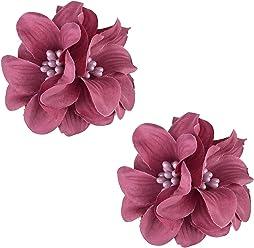 SIX Haarschmuck 2er-Set: Haarclips mit Textil-Blüten und Kunstperlen, fester Halt, ideal für Dutt oder Hochsteckfrisuren oder als Blumen-Bro (24-625)