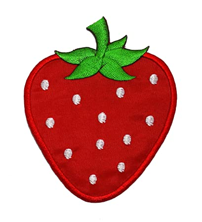 b1746bdd4 Amazon.com: Cute Red Strawberry DIY Applique Embroidered Sew Iron on ...
