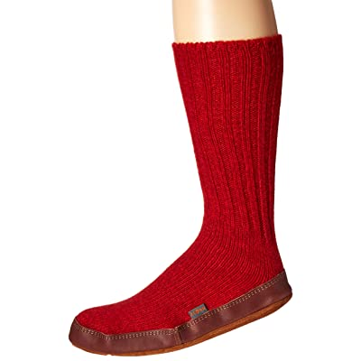 Easy Spirit Unisex Slipper Sock, Crimson Ragg Wool, Large(11-12 Women's/9-10 Men's) B US | Slippers