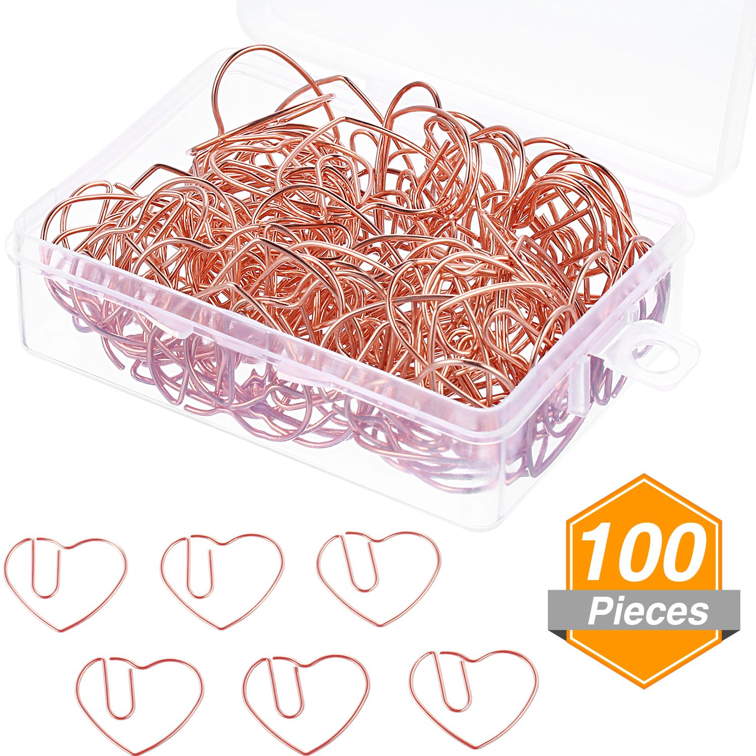 Jetec 100 Pieces 3 cm Love Heart Shaped Paper Clips Bookmark Clips for Office School Home, Rose Gold
