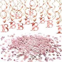 Konsait Rose Gold 18th Birthday Decorations for Women and Girl Bday Decor 18th Birthday Hanging Swirls (30pcs) 18 Happy Birthday Star Confetti (20g) for Home Table Decor Birthday Party Favor Supplies