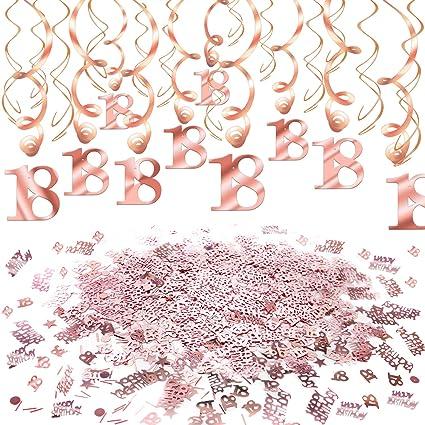 Howaf Decoración de cumpleaños 18 en Oro Rosa, 18 cumpleaños Decoración Colgante remolinos y Feliz cumpleaños 18 Mesa Confeti para Mujeres y niñas 18 ...