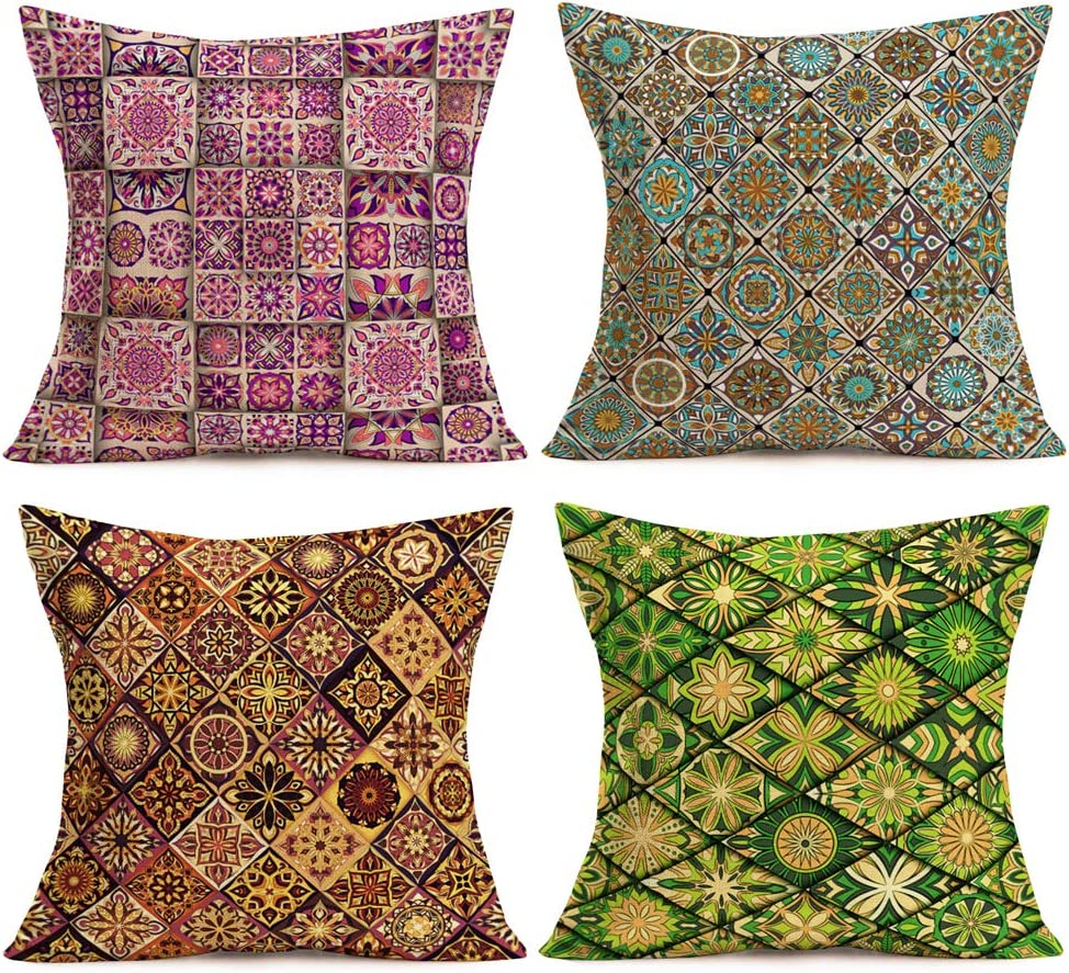 Aremetop Colorful Mexican Tiles Pillow Covers Pack of 4 Home Decor Paisley Tiles Moroccan Mandalas Cotton Linen Throw Pillows Ethnic Boho Style Geometry Rhombus Ceramic Cushion Cases for Sofa 18''x18'
