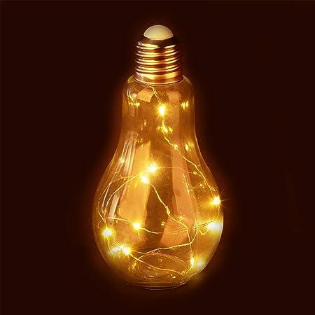 Relaxdays Decorativa LED, Lámpara de Mesa, A Pilas, Cadena ...