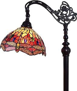 Amora Lighting Tiffany Style Floor Lamp Arched Adjustable 62