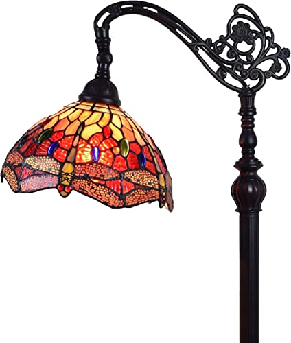 Amora Lighting Tiffany Style Floor Lamp Arched Adjustable 62 Tall Stained Glass Red Yellow Green Dragonfly Antique Vintage Light Decor Bedroom Living Room Reading Gift AM079FL10B, 10 Inch Diameter