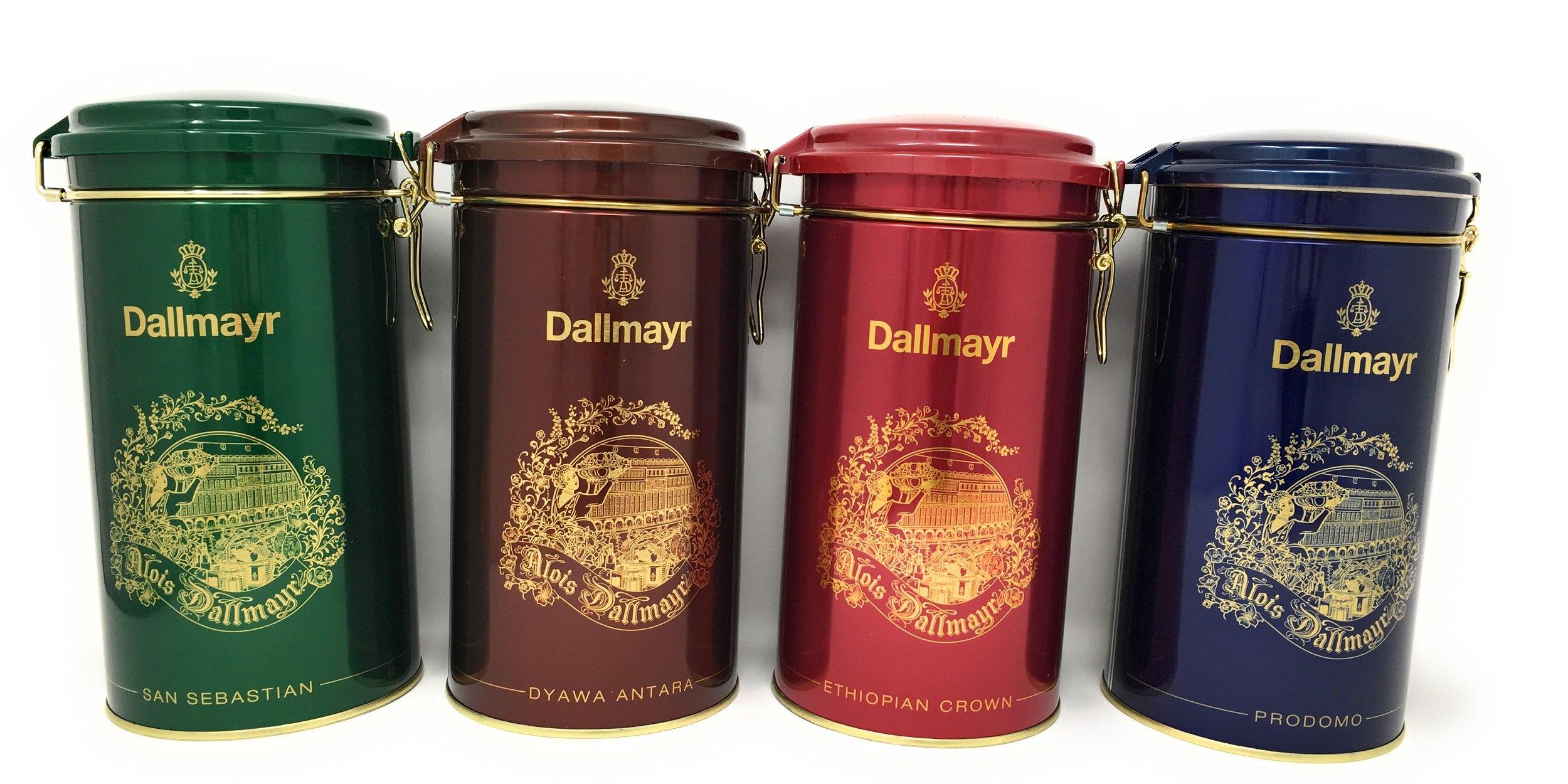 Dallymayr Holiday Gift Coffee Bundle in Festive 17.6 Ounce Gift Tins: One Each of Blue Prodomo, Green San Sebastian, Red Ethiopian Crown, and Bronze Dyawa Antara by Dallmayr