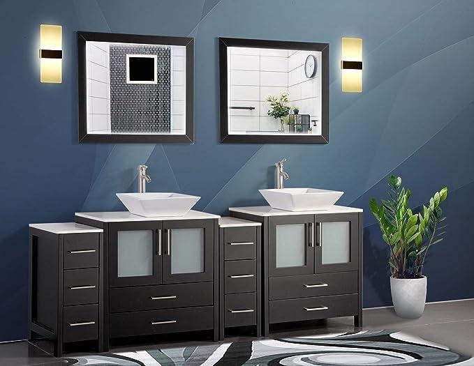 Vanity Art 84 Inch Double Sink Bathroom Vanity Set 2 Shelves 10 Drawers Quartz Top And Ceramic Vessel Sink Bathroom Cabinet With Free Mirrors Va3130 84 E Kitchen Dining Amazon Com
