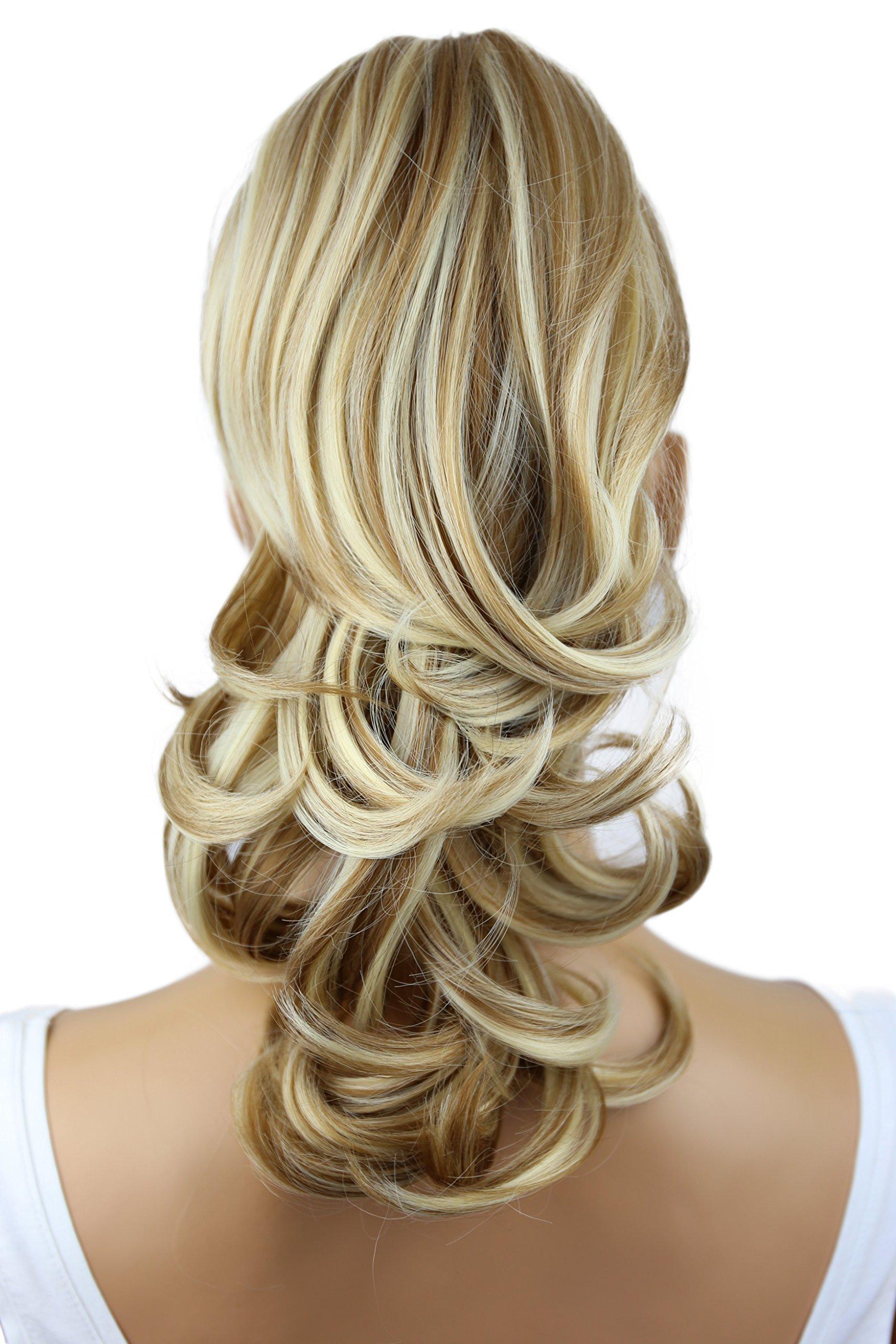 PRETTYSHOP 14'' Hair Piece Pony Tail Clip On Extension Voluminous Wavy Heat-Resisting Dark blonde mix # 27H613 H94 by Prettyshop Hairpiece