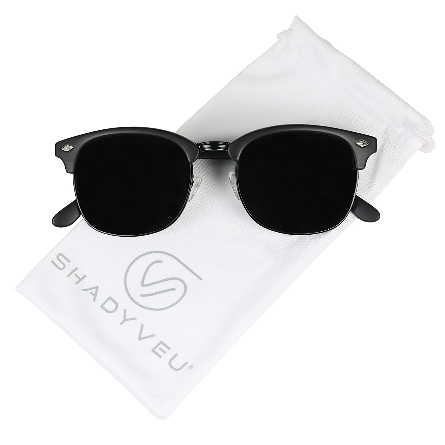 96ce0c4084 Amazon.com  ShadyVEU - Exclusive Super Dark Retro 80 s Semi Half Rimless  Round Classic Sunglasses (ALL BLACK