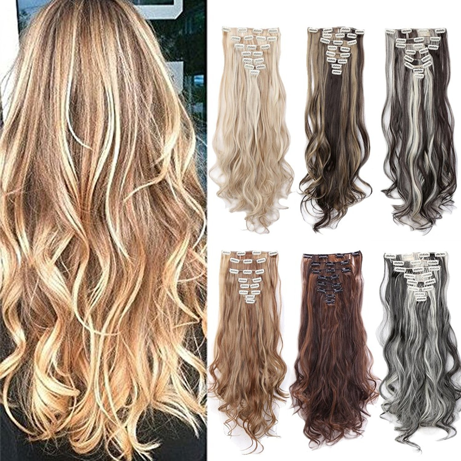 Amazon 8pcs Clip In Hair Extensions Straight Wavy Curly Full
