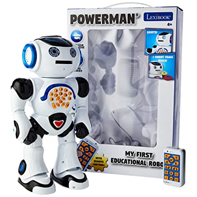 LEXiBOOK ROB50EN_09 Powerman Remote Control Walking Talking Toy Robot, Educational Robot, Dances, Sings, Reads Stories, Math Quiz, Shooting Discs, & Voice Mimicking, Black, White: Toys & Games