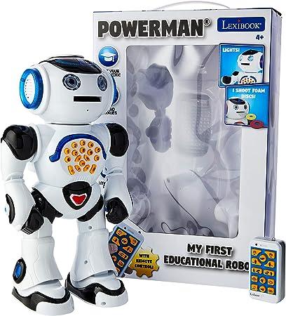 Lexibook ROB50EN Powerman - Robot de juguete con control remoto para caminar y hablar, danzas, canta, lee historias, cuestionario de matemáticas, discos de disparo y sonido de voz, blanco/negro
