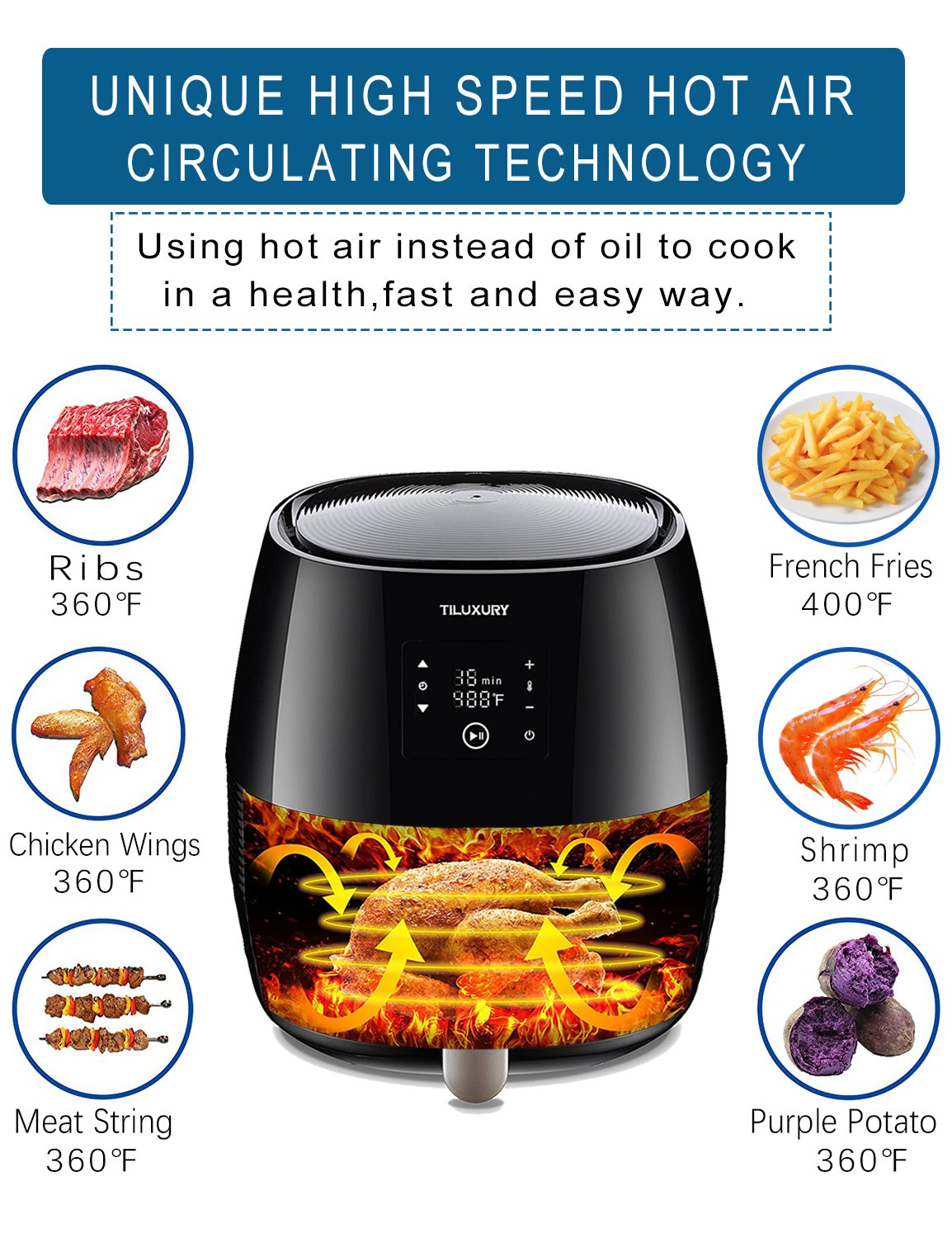 Tiluxury Air Fryer,Electric Air Fryers, Healthy Food Less Fat,Air French Fries,Hot Air Frying Technology Cooker,Digital Touch Screen and Non-Stick Basket,1400W 3.7QT (Black) by Tiluxury (Image #5)