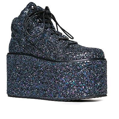 53c050e5ea Amazon.com | YRU Qozmo Glitter Galactic - Black Glitter Mega Platform  Sneaker | Fashion Sneakers