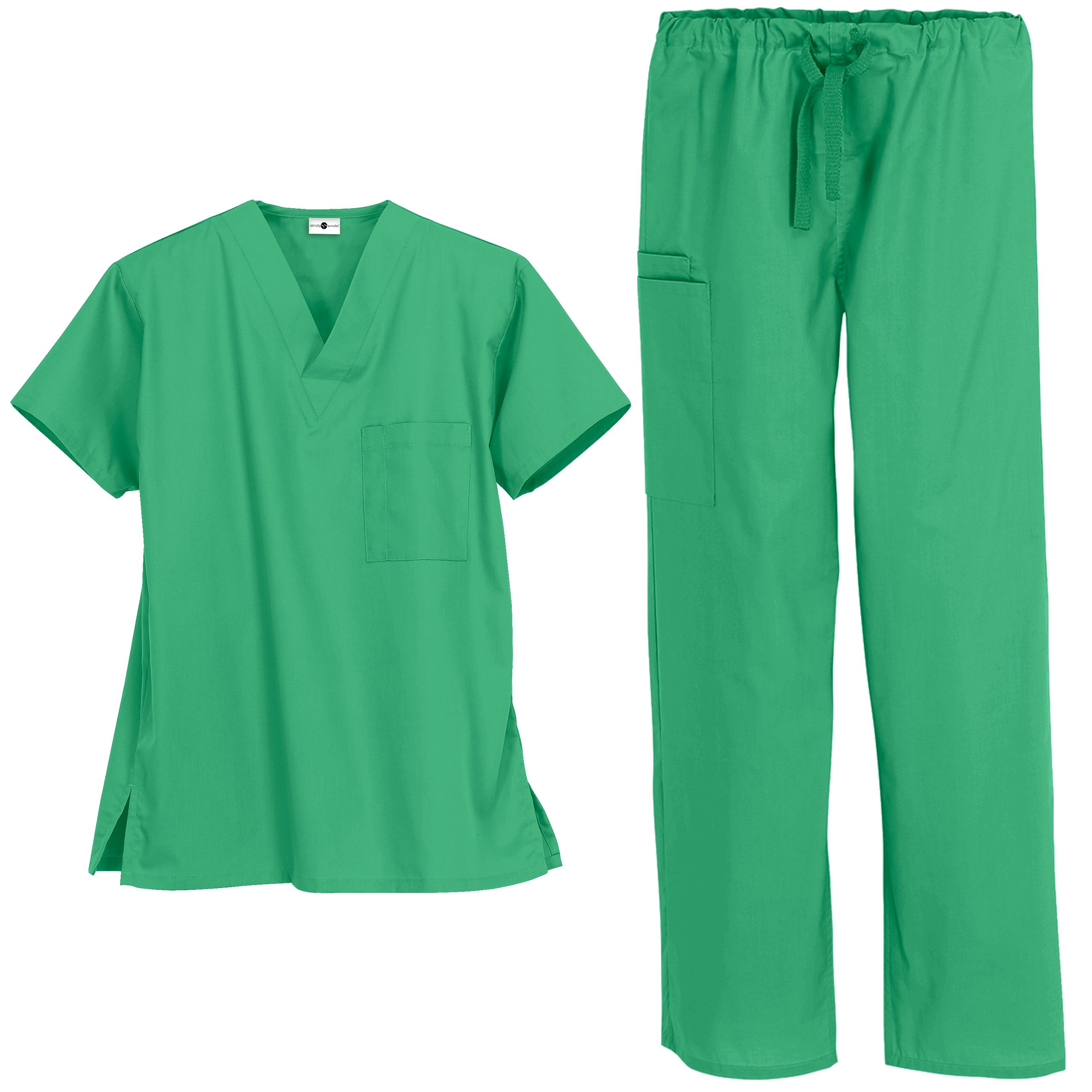 Unisex Medical Uniform Scrub Set – Includes V-Neck Top and Drawstring Pant (XS-3X, 13 Colors) (XX-Large, Jade)
