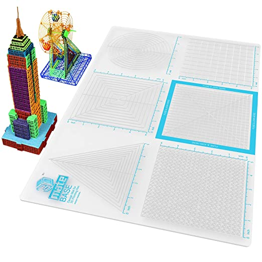Transparent 3D Pen Mat 9 x 7 Inches 3Dmate Starter 4 Finger Protectors 3D Pen Accessories Compatible with Stencils Adults Flexible Two-Sided Heat-Resistant Silicone STEM Activity for Kids