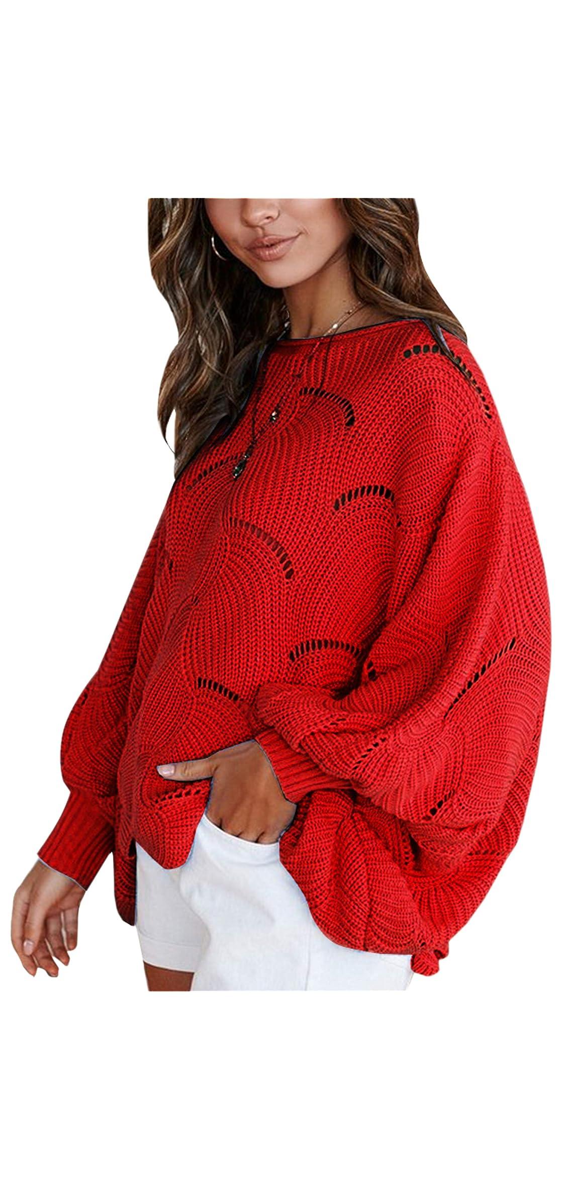 Women Sweater Oversized Lantern Sleeve Jumper Irregular