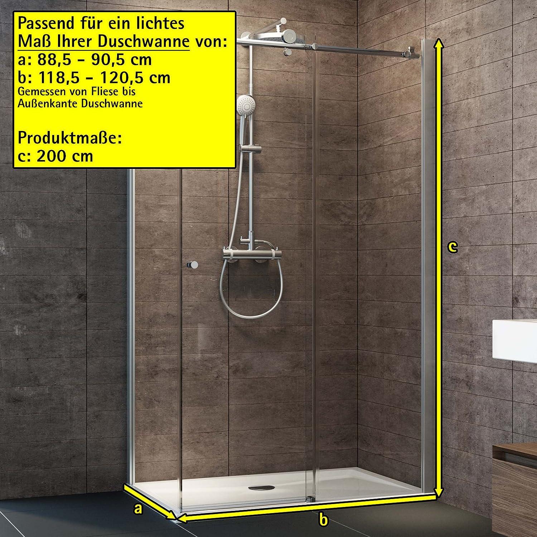 Schulte Dusche Schiebetür Grande Seitenwand links, 120x90 cm, 200 cm ...