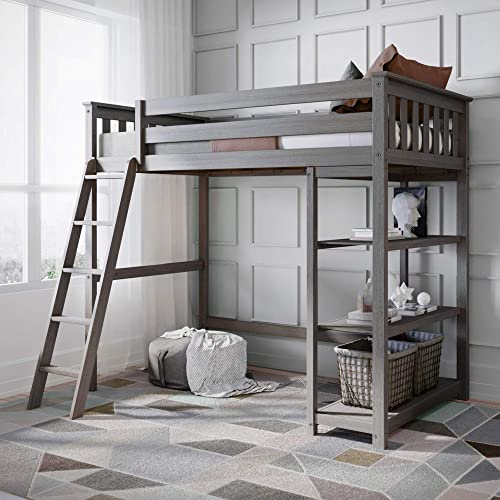 Max Lily Solid Wood Twin-Size High Loft Bed with Bookcase, Clay