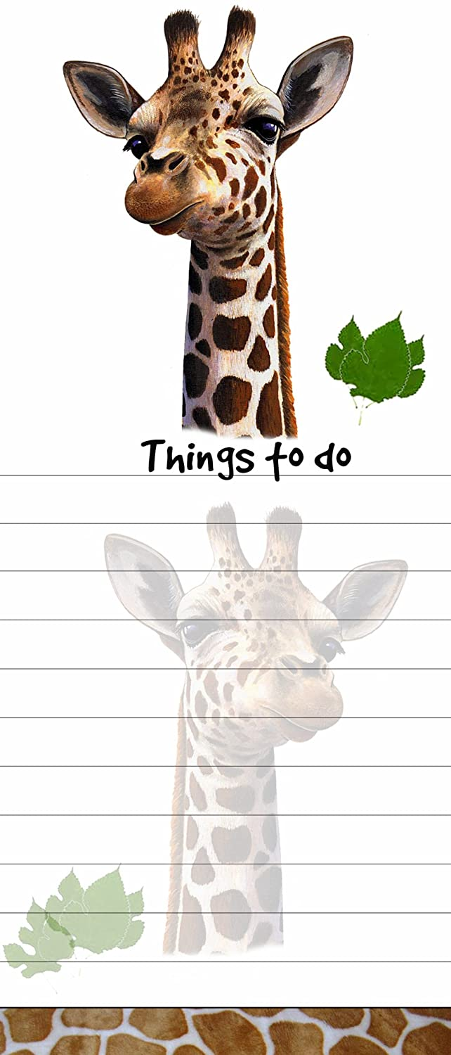 """Giraffe Magnetic List Pads"" Uniquely Shaped Sticky Notepad Measures 8.5 by 3.5 Inches"