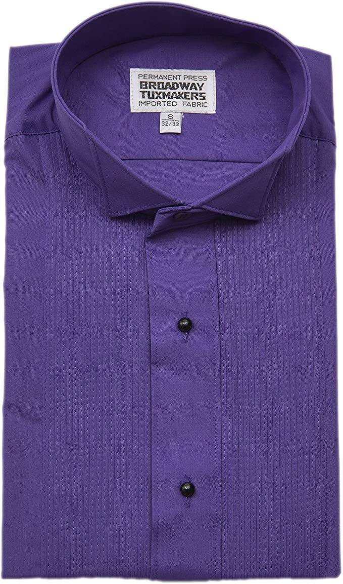 Mens 1//8 Wing Tip Collar Purple Tuxedo Shirt