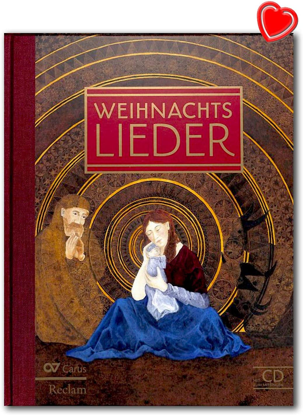 Canciones de Navidad, las canciones más bonitas de Navidad alemanas con CD para cantar, libro de canciones con CD y colorido clip en forma de corazón