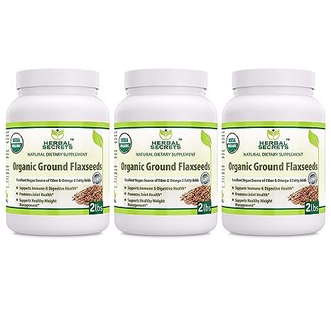 Herbal Secrets semillas de linaza orgánicas molidas de 2 ...