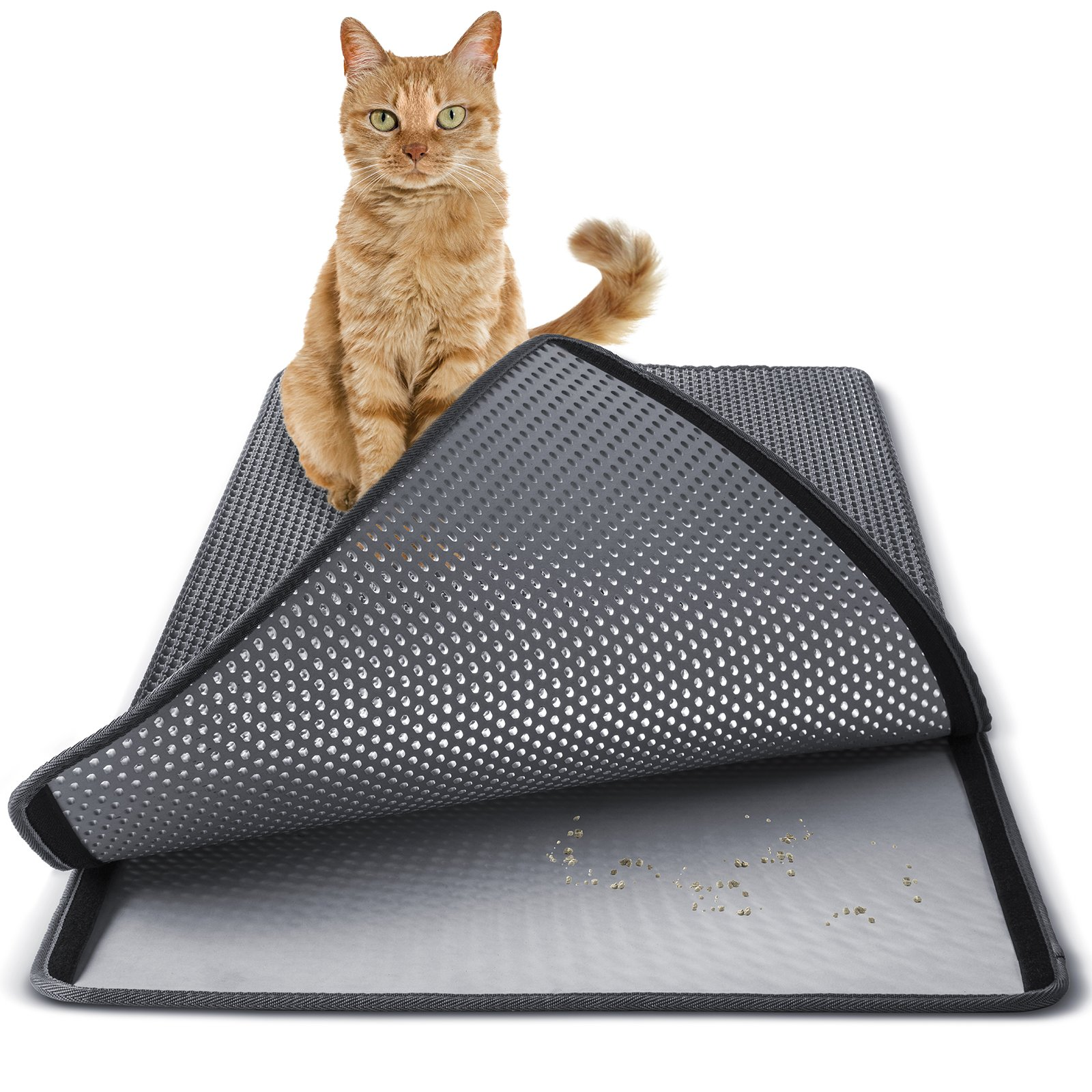 Paws & Pals Cat Litter Mat 30'' x 23'' Inch Jumbo Large Size Non Slip Litter Trap Pad Litter Boxes - Gray