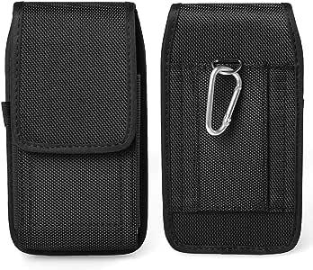 Black Jlyifan Vertical Executive Holster Belt Clip Pouch Case for Motorola Moto G4 Plus/Moto M/Moto Z Play/Z Force/Google Pixel XL/HTC Bolt/HTC 10 Evo (Black Nylon)