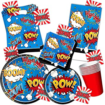 Superhero Party Supplies Set Kids Toddlers Super Hero Birthday Decorations Favors